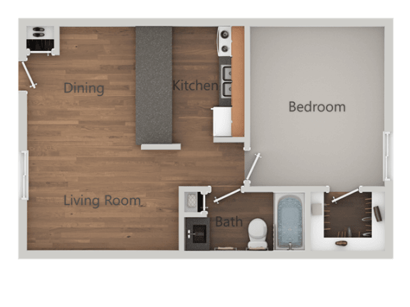 1 Bed 1 Bath Floor Plan at SandsApartments, Mesa, Arizona