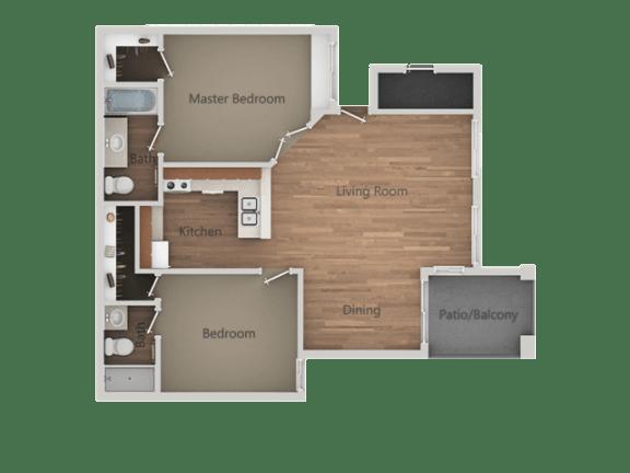 2 bedroom 2 bath Floor Plan at Rio Seco Apartments, Arizona, 85746