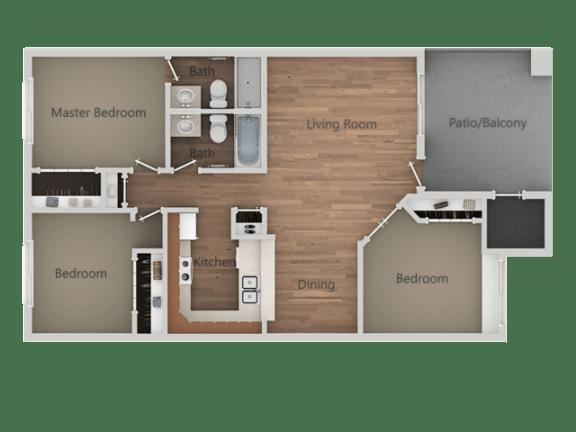 3 bedroom 2 bath Floor Plan at Rio Seco Apartments, Tucson, AZ