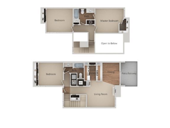 3 Bed, 2 Bath Floor Plan at Edgewater Isle Apartments & Townhomes, California