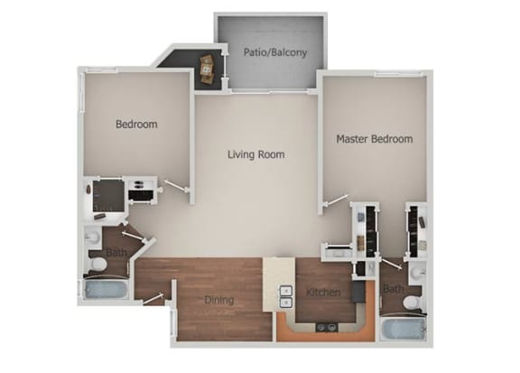 2 Bedroom 2 Bathroom Floor Plan at Canyon Club Apartments, Oceanside