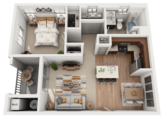1 Bedroom 1 Bathroom Floor Plan at Foothill Lofts Apartments & Townhomes, Utah, 84341