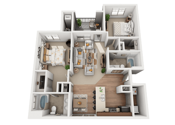 2 bedroom 2 bath Floor Plan at Foothill Lofts Apartments & Townhomes, Logan, Utah