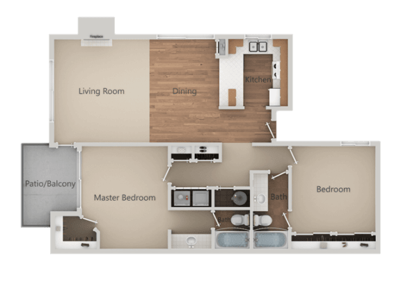 Two Bed Two Bath Floor Plan at Heron Pointe Apartments & Townhomes, Fresno, CA, 93711