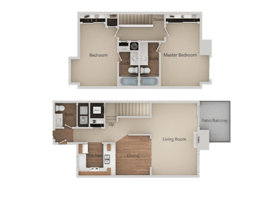 Two Bed Two Bath Floor Plan at Heron Pointe Apartments & Townhomes, Fresno, CA