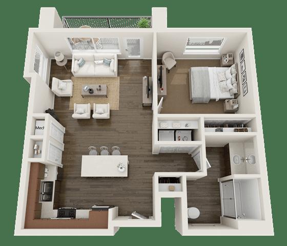 1 BEDROOM Floor Plan at Foothill Lofts Apartments & Townhomes, Logan, UT, 84341