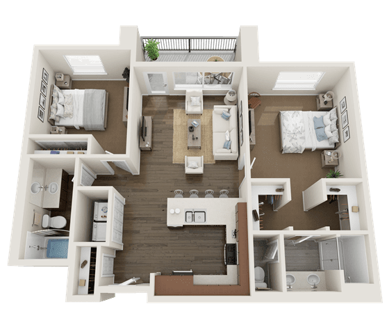 2 Bedroom Floor Plan at Foothill Lofts Apartments & Townhomes, Logan, UT