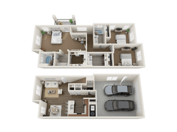 3 BEDROOM TOWNHOME Floor Plan at Foothill Lofts Apartments & Townhomes, Logan