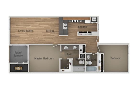 2 bedroom 2 bath Floor Plan at Aztec Springs Apartments, Mesa, 85207