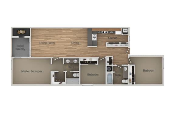 3 bedroom 2 bath Floor Plan at Aztec Springs Apartments, Mesa, Arizona
