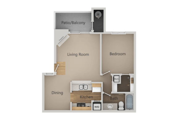 One Bed One Bath Floor Plan at Chesapeake Commons Apartments, Rancho Cordova, California