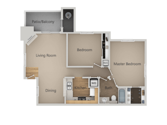 Two Bed Two Bath Floor Plan at Chesapeake Commons Apartments, Rancho Cordova