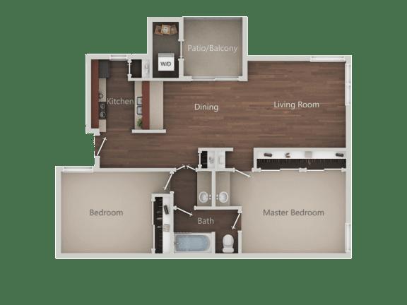 One bedroom One bathroom Floor Plan at Eucalyptus GroveApartments, Chula Vista