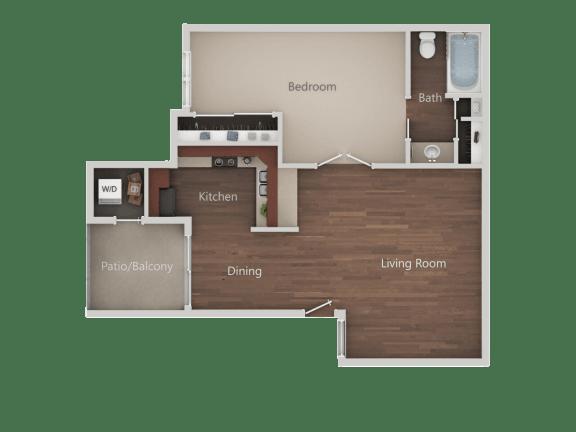 One Bed One Bath Floor Plan at Eucalyptus GroveApartments, Chula Vista, CA