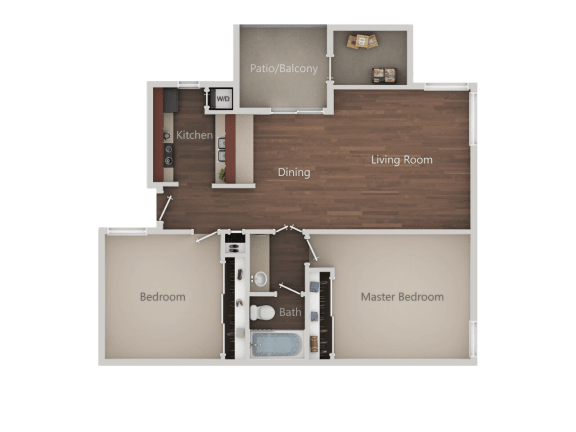 Two Bed One Bath Floor Plan at Eucalyptus GroveApartments, Chula Vista, 91910