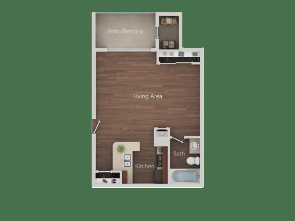 Studio A Floor Plan at Eucalyptus GroveApartments, Chula Vista, California