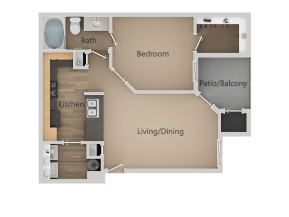 One Bed One Bath Floor Plan at Four Seasons at Southtowne Apartments, South Jordan, UT, 84095