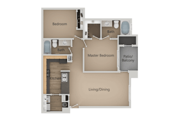 Two Bed Two Bath Floor Plan at Four Seasons at Southtowne Apartments, South Jordan