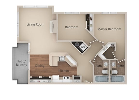2 Bedroom 2 Bathroom Floor Plan at Metropolitan Place Apartments, Washington