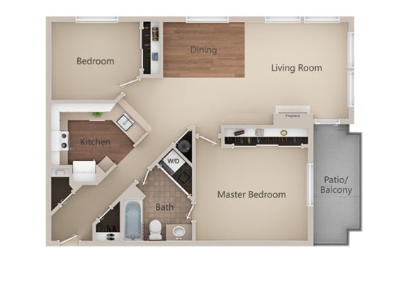 2 bedroom 2 bath Floor Plan at Metropolitan Place Apartments, Renton