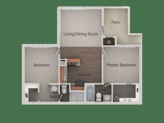 2 Bedroom 2 Bathroom Floor Plan at River PointApartments, Tucson, AZ, 85712