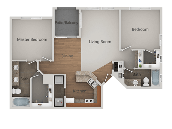 Two Bed Two Bath Floor Plan at Canyon Ridge Apartments, Surprise, 85378