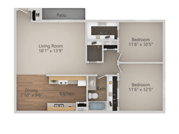 2 Bedroom 1 Bath Floor Plan at Courtyard at Central Park Apartments, Fresno, CA