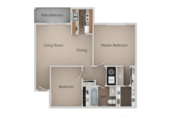 2 Bedroom 1 Bathroom Floor Plan at Crossroads Apartments, Utah
