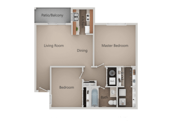 2 Bedroom 1 Bath Floor Plan at Crossroads Apartments, West Valley, UT, 84119