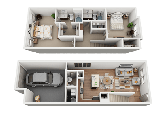 2 Bed 2 Bath Floor Plan at Four Seasons Apartments & Townhomes, North Logan