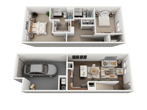 2 Bedroom 2 Bathroom Floor Plan at Four Seasons Apartments & Townhomes, North Logan, Utah