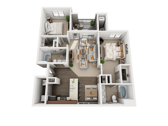 2 Bedroom 2 Bathroom Floor Plan at Four Seasons Apartments & Townhomes, Utah, 84341
