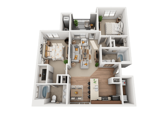 2 Bed 2 Bath Floor Plan at Four Seasons Apartments & Townhomes, North Logan, UT, 84341