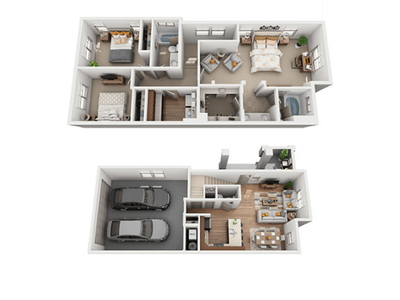 3 Bed, 2 Bath Floor Plan at Four Seasons Apartments & Townhomes, North Logan, 84341