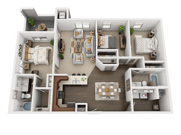 Three Bed Two Bath Floor Plan at Four Seasons Apartments & Townhomes, North Logan, UT