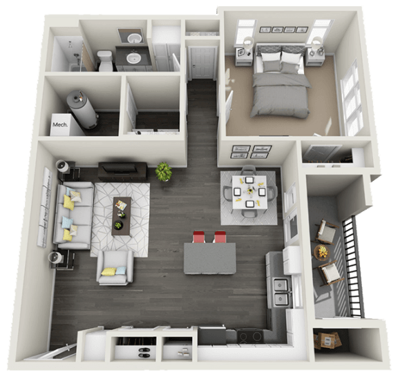 One Bed One Bath Floor Plan at Rivulet Apartments, American Fork, UT