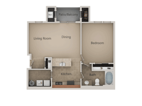 1 Bed 1 Bath Floor Plan at San Marino Apartments, South Jordan, Utah