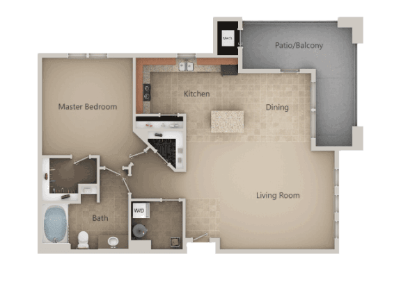 One Bed One Bath Floor Plan at San Marino Apartments, Utah