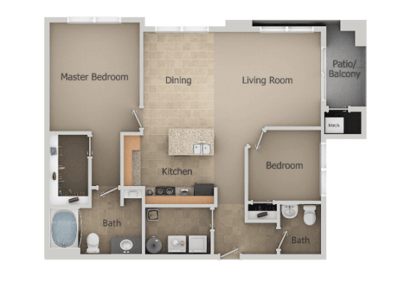 2 Bedroom 1 Bath Floor Plan at San Moritz Apartments, Midvale, Utah