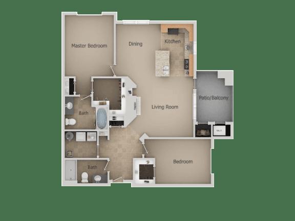 Two Bed Two Bath Floor Plan at San MoritzApartments, Utah