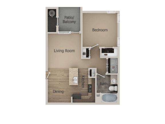 1 Bed 1 Bath Floor Plan at Talavera at the Junction Apartments & Townhomes, Utah