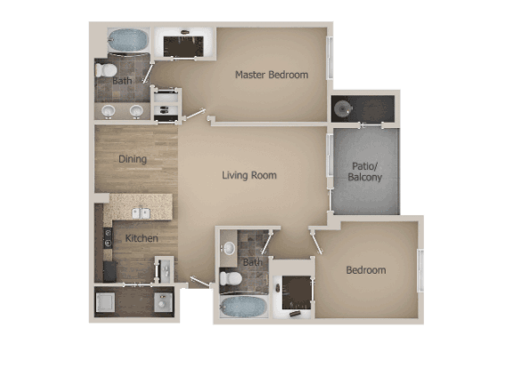 2 Bedroom 2 Bathroom Floor Plan at Talavera at the Junction Apartments & Townhomes, Midvale, UT, 84047