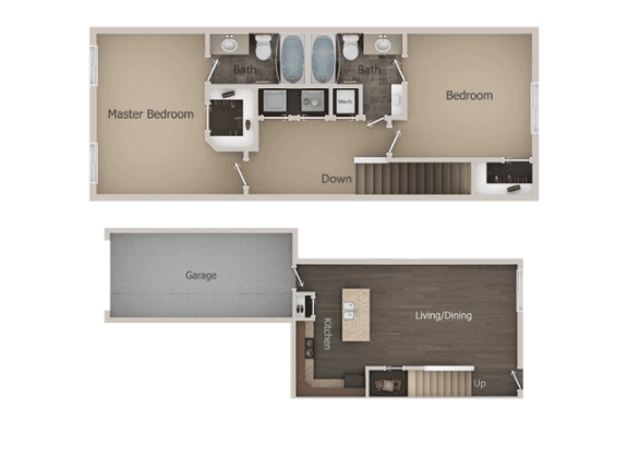 2 bedroom 2 bath Floor Plan at Talavera at the Junction Apartments & Townhomes, Midvale, UT