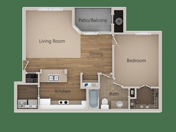 1 Bed 1 Bath Floor Plan at Trailside Apartments, Parker