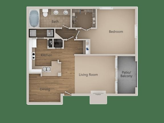 1 Bedroom 1 Bathroom Floor Plan at Trailside Apartments, Colorado