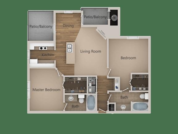 2 Bedroom 2 Bathroom Floor Plan at Trailside Apartments, Parker, CO, 80134