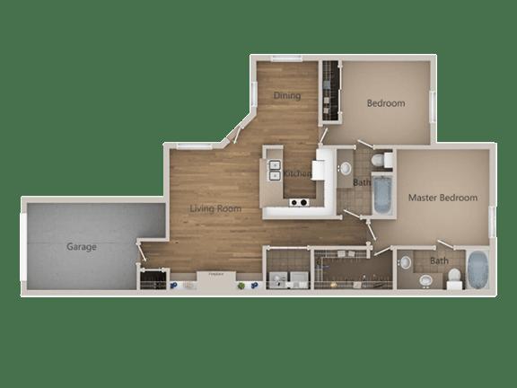2 bedroom 2 bath Floor Plan at Trailside Apartments, Parker, CO