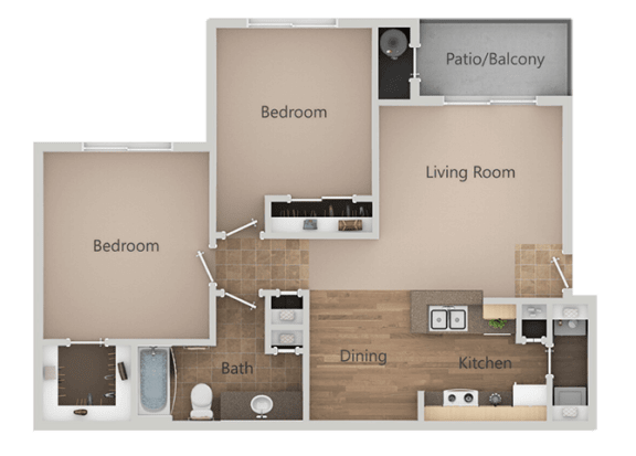 2 Bedroom 1 Bath Floor Plan at Remington Apartments, Midvale, UT