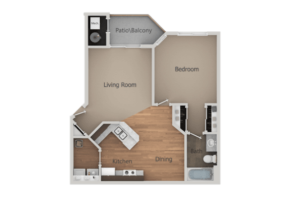 One Bed One Bath Floor Plan at Falls at Hunters Pointe Apartments, Utah