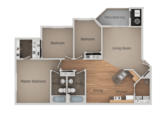 Three Bed Two Bath Floor Plan at Falls at Hunters Pointe Apartments, Sandy, UT